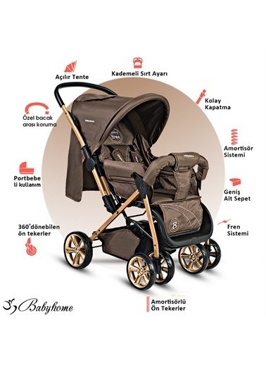 Baby Home Baby Home Bh-655 Pasific Plus Çift Yönlü Bebek Arabası Gri